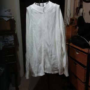 Women's white zip front 3x sweater